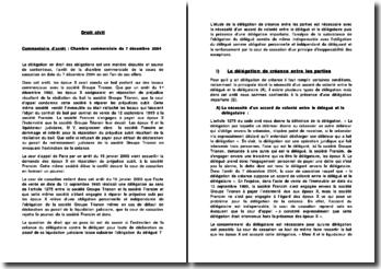 Commentaire d'arrêt, Chambre commerciale du 7 décembre 2004: la délégation de créance