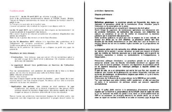 La constitution et l'orientation du dossier de la procédure pénale