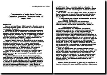 Commentaire d'arrêt de la Cour de Cassation, première Chambre civile, 15 mars 1988: le nom patronymique et son caractère abrogeable