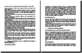 Le divorce pour faute, commentaire d'arrêt, Cour d'appel, du 7 juin 2000