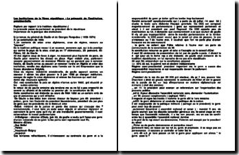 Les institutions de la Vème république : La primauté de l'institution présidentielle
