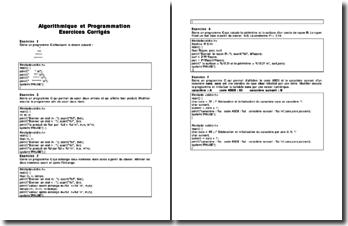 Algorithmique et programmation : exercices corrigés