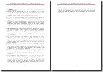 Le degré zéro de l'écriture - Roland Barthes - langue, style, écrivains et société
