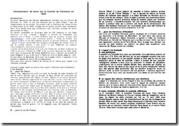 Commentaire de texte sur le Concile de Clermont en 1095