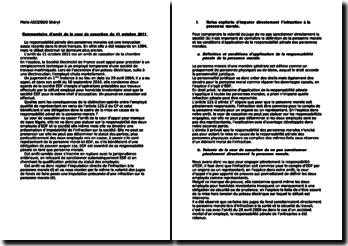 Commentaire d'arrêt de la cour de cassation du 11 octobre 2011: la responsabilité pénale des personnes morales
