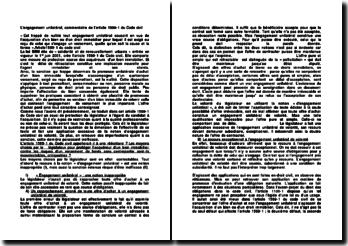 L'engagement unilatéral, commentaire de l'article 1589-1 du Code civil