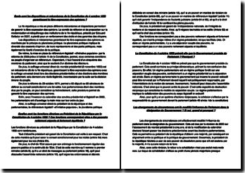 Etude de différentes questions relatives à la Constitution de 1958