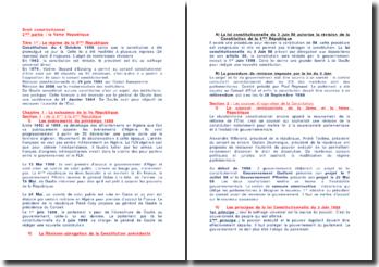 Droit constitutionnel: la Vème République