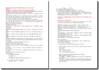 Fiches de révisions mathématiques pour la gestion