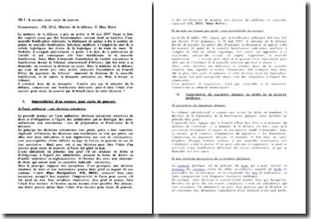 CE, 2012, Ministre de la défense, C. Mme Dalot : le recours pour excès de pouvoir