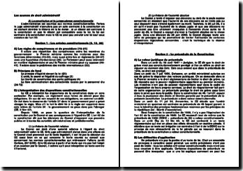 Les sources de droit administratif