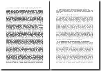 La convention, commentaire d'arrêt, Cour de cassation, 10 juillet 2007