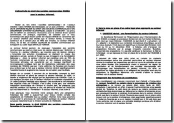 L'attractivité du droit des sociétés commerciales OHADA pour le secteur informel