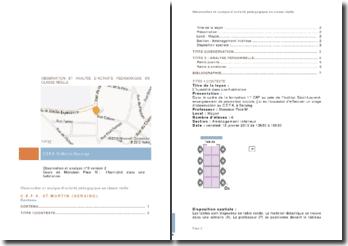 Observation et analyse d'activité pédagogique en classe de cefa en Belgique