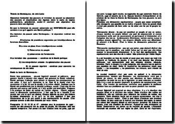 Séparation horizontal des pouvoirs et limitation du pouvoir ou séparation des pouvoirs et classification des régimes