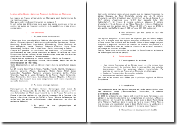 La place et le rôle des régions en France et des Länder en Allemagne
