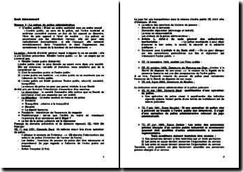 La police administrative et l'acte administratif unilatéral