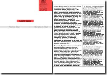 Contribution à la théorie générale de l'Etat - Carré de Malberg et Les actes constitutionnels de 1940 - Roger Bonnard : le titulaire du pouvoir constituant originaire