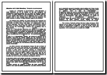 Allocution de M. Alain Bonnafous, Transports et environnement