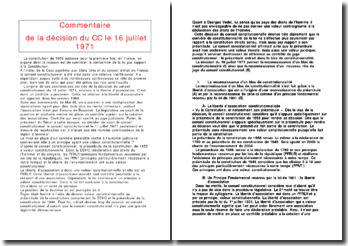 Commentaire de la décision du Conseil Constitutionnel le 16 juillet 1971: la liberté d'association