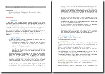 Environnement juridique et droit des contrats