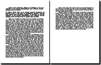Lettres d'une Péruvienne, Madame de Graffigny se sert des méthodes et des théories philosophiques pour renverser certains préjugés contre les femmes