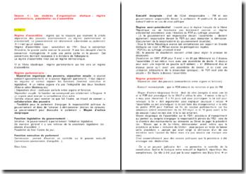 Les modèles d'organisation étatique : régime parlementaire, présidentiel ou d'assemblée