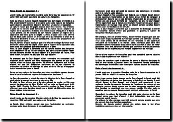 Analyse de commentaires d'arrêt de droit civil sur la rupture de fiançailles