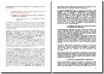 Le parlementarisme, force ou faiblesse de la IIIe République en France (1877-1914)