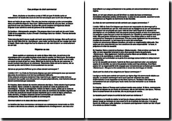 Cas pratique de droit commercial - Artisan et commerçant, bail, époux commerçant et fin d'exercice