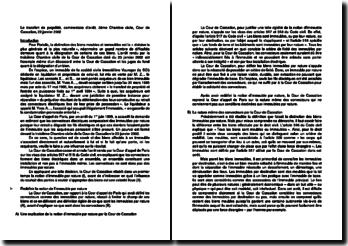 Le transfert de propriété, commentaire d'arrêt, 3ème Chambre civile, Cour de Cassation, 23 janvier 2002