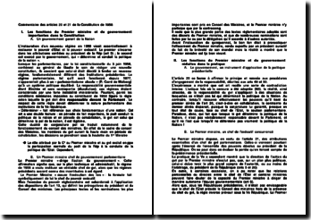 Commentaire des articles 20 et 21 de la Constitution de 1958