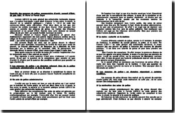 Contrôle des mesures de police, commentaire d'arrêt, conseil d'Etat, 26 juin 1987