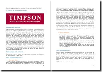 Contrôle de gestion basé sur la culture : le cas de la société TIMPSON