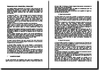 Commentaire d'arrêt du Conseil d'Etat du 11 février 2013 : la qualité d'agent contractuel