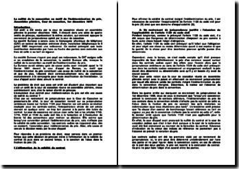 La nullité de la convention au motif de l'indétermination du prix, Assemblée plénière, Cour de cassation, 1er décembre 1975