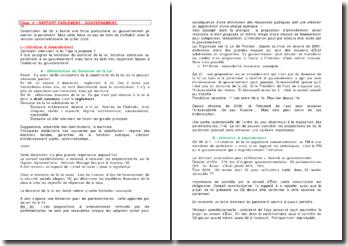 Les rapports entre le Parlement et le Gouvernement