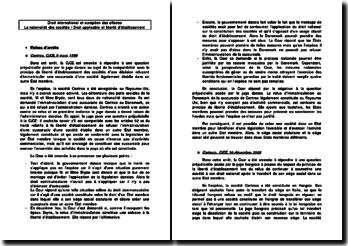 Cas pratique et jurisprudence sur la nationalité des sociétés et sur la liberté d'établissement des sociétés