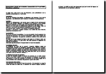Fiche d'arrêt de la Chambre commerciale de la Cour de cassation du 17 avril 2009 : les procédures collectives