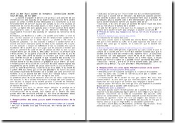 Droit au bail d'une société en formation, commentaire d'arrêt, Cour de Cass., 23 mai 2006