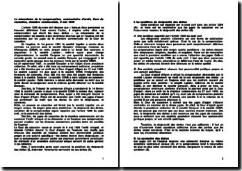 Le mécanisme de la compensation, commentaire d'arrêt, Cour de cassation, chambre commerciale, 9 mai 1995