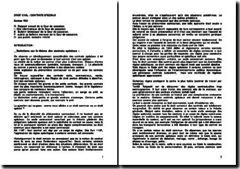 Variations sur le thème des contrats spéciaux