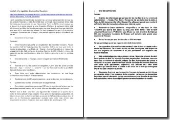 Le droit et la régulation des marchés financiers