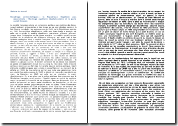 Histoire du travail : la République fragilisée puis reconstruite : l'héritage égalitaire révolutionnaire et le pacte social français