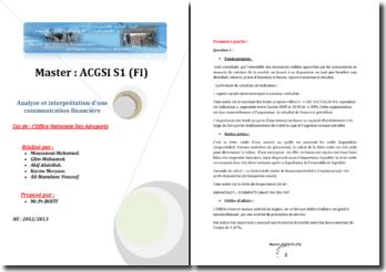 Analyse et interprétation d'une communication financière: cas de l'Office Nationale Des Aéroports