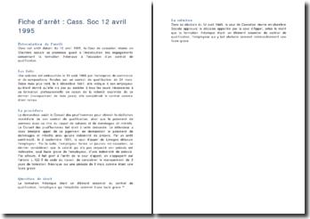 Fiche d'arrêt de la Chambre sociale de la Cour de cassation du 12 avril 1995 : la formation théorique