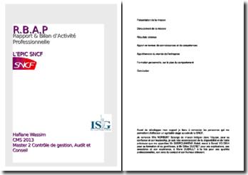 Rapport de stage effectué au département contrôle de gestion groupe de la direction financière groupe de l'EPIC SNCF