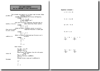 Les équations du premier degré à une inconnue