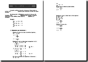 Les équations à n inconnues