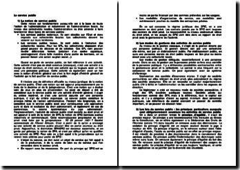 Notion, lois et modes de gestion du service public